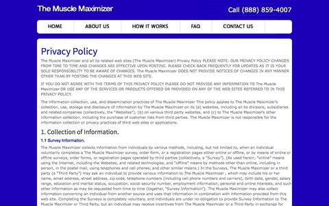 Screenshot of Privacy Page themusclemaximizer.com - Privacy Policy  | The Muscle Maximizer - captured Oct. 31, 2014