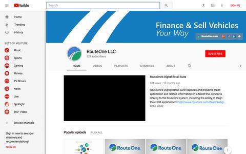 Screenshot of YouTube Page youtube.com - RouteOne LLC - YouTube - YouTube - captured Jan. 22, 2018