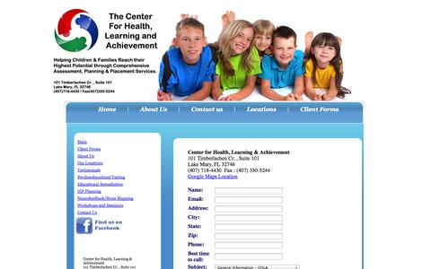 Screenshot of Contact Page Locations Page learningandachievement.com - Center for Health, Learning and Achievement - Contact Us - captured Oct. 22, 2014