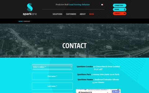 Screenshot of Contact Page sparklane-group.com - Contact us   Sparklane - captured Nov. 19, 2017