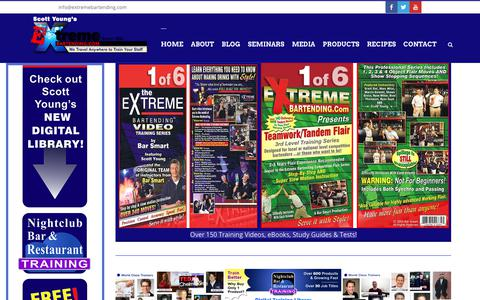Screenshot of Home Page extremebartending.com - Extreme Bartending by Scott Young - captured Sept. 22, 2018