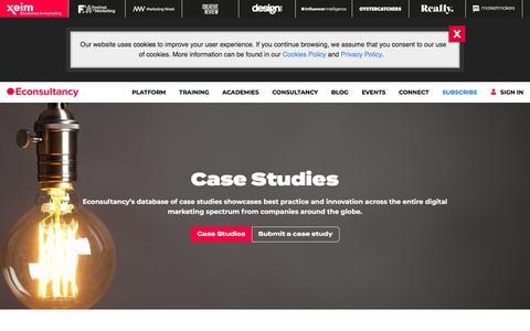 Screenshot of Case Studies Page econsultancy.com - Marketing Case Studies | Econsultancy - captured July 26, 2019