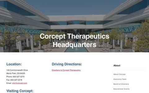Screenshot of Contact Page corcept.com - Contact Us | Corcept Therapeutics - captured Nov. 3, 2018
