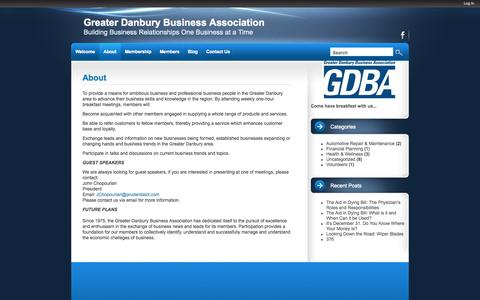 Screenshot of About Page danburybusiness.org - About | Greater Danbury Business Association - captured Oct. 1, 2014