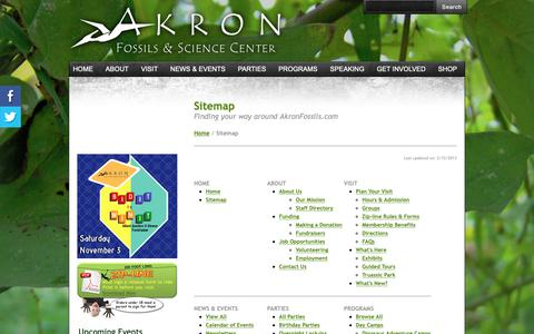 Screenshot of Site Map Page akronfossils.com - Sitemap - Akron Fossils & Science Center - captured Oct. 3, 2018
