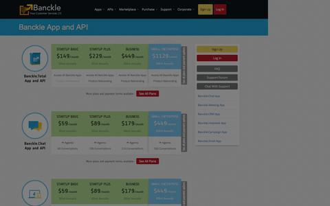 Screenshot of Pricing Page banckle.com - Cloud Apps Pricing - captured Sept. 19, 2014