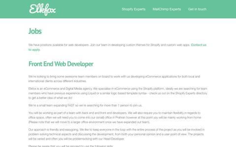 Screenshot of Jobs Page elkfox.com - Jobs | Elkfox | Digital Commerce Specialists - captured July 13, 2016