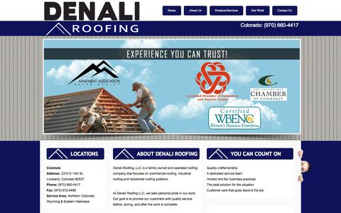 Screenshot of Home Page denaliroofs.com - Denali Roofing: Loveland, Fort Collins, CO: Roof Contractor, Gutters & Repair - captured Oct. 5, 2014