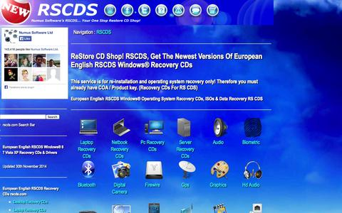 Screenshot of Home Page rscds.com - Recovery CDs & Drivers For Windows® 8.1 8 7 Vista XP | rscds.com - captured Jan. 23, 2015