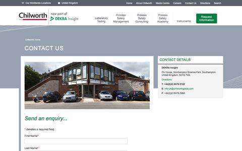 Screenshot of Contact Page chilworth.co.uk - Chilworth Technology Ltd. - Contact Us - captured July 29, 2017