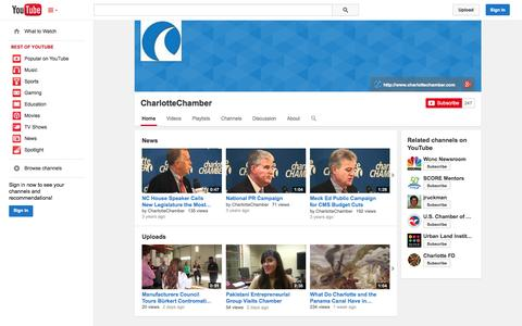 Screenshot of YouTube Page youtube.com - CharlotteChamber  - YouTube - captured Nov. 1, 2014