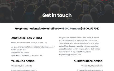 Screenshot of Contact Page paragonnz.com - Paragon NZ - Contact - captured Dec. 14, 2018