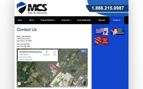 Screenshot of Contact Page mcsfiresecurity.com - MCS Fire & Security – Contact Us - captured Sept. 30, 2014