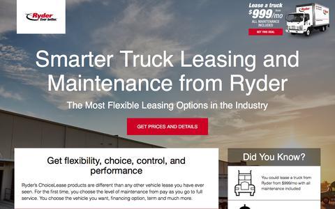 Screenshot of Landing Page ryder.com - Flexible Truck Leasing Solution - Ryder - captured April 8, 2018