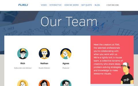 Screenshot of Team Page flikli.com - FLIKLI - A Visual Agency. - captured Oct. 27, 2014