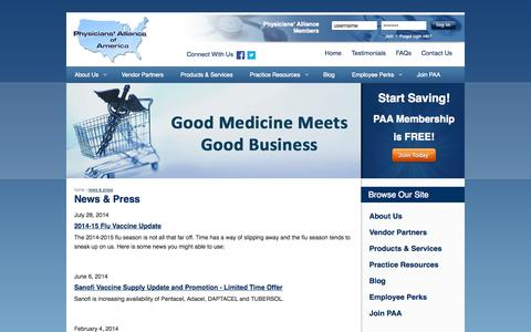 Screenshot of Press Page physall.com - News & Press | Physicians' Alliance of America - captured Oct. 2, 2014