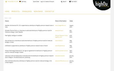 Screenshot of Press Page highqu.com - highQu GmbH |  news - captured Oct. 3, 2014