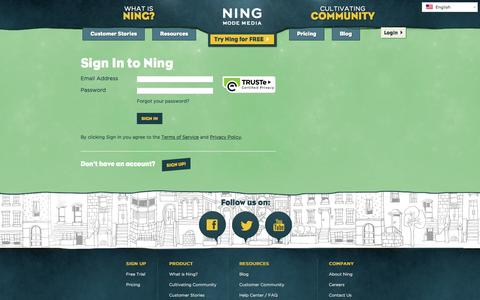 Screenshot of Login Page ning.com - Sign In to Ning | Ning.com - captured June 16, 2015