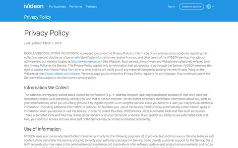 Screenshot of Privacy Page ivideon.com - Privacy Policy | Ivideon - captured Aug. 6, 2016