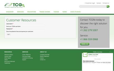 Screenshot of Login Page tcgrx.com - Log in | TCGRx - captured March 23, 2017