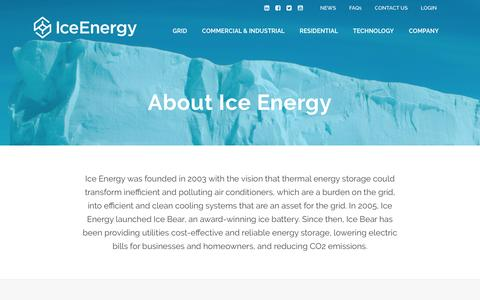 Screenshot of Jobs Page Team Page Locations Page ice-energy.com - Company - Ice Energy - captured July 4, 2016