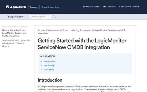 Screenshot of Support Page logicmonitor.com - Getting Started with the LogicMonitor ServiceNow CMDB Integration   LogicMonitor Support - captured Dec. 12, 2019