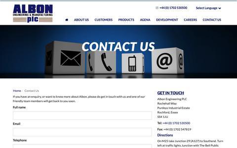 Screenshot of Contact Page albonplc.com - Albon | Contact Us | Essex - captured Oct. 3, 2018
