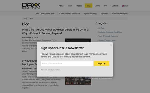 Screenshot of Press Page daxx.com - Daxx Blog: Tips for Hiring Top Software Developers and Team Management Advice - captured Nov. 24, 2016