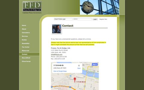 Screenshot of Contact Page ffdcpa.com - Little Rock, AR Accounting Firm   Contact Page   Frazee, Fox & Dodge, Ltd. - captured Oct. 6, 2014