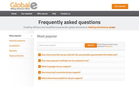 Screenshot of FAQ Page global-e.com - Global-e   Global eCommerce   Making eCommerce Glocal - captured Oct. 8, 2014