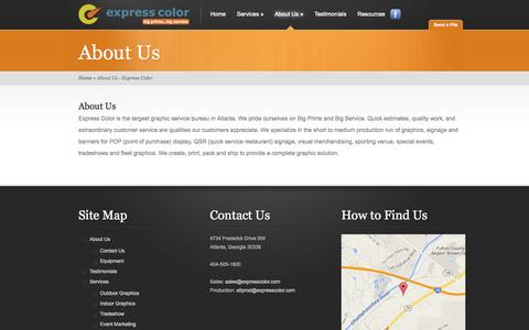 Screenshot of About Page expresscolor.com - About Us - Express Color   Express Color - captured Sept. 26, 2014