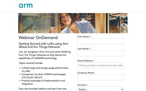Screenshot of Landing Page arm.com - Webinar OnDemand - Getting started with loRa - captured March 5, 2018
