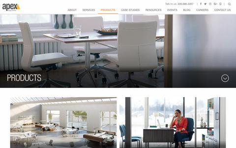 Screenshot of Products Page apexfacility.com - Commercial Workspace Products: Apex Facility Resources - captured Oct. 8, 2017