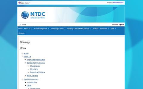 Screenshot of Site Map Page mtdc.com.my - Sitemap   Malaysian Technology Development Corporation - captured Oct. 5, 2017