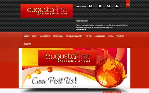 Screenshot of Home Page augustafirst.org - Augusta's First Assembly of God - Serving the Augusta GA area and the general CSRA - captured Oct. 4, 2014