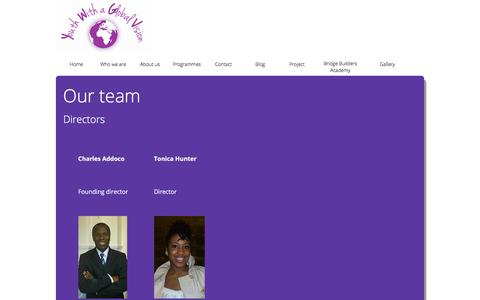 Screenshot of Team Page youthwithaglobalvision.org - Youth with a Global Vision - captured Sept. 20, 2018