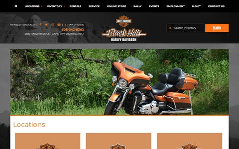 Screenshot of Locations Page blackhillshd.com - Locations | Black Hills Harley-Davidson® | Rapid City South Dakota - captured Oct. 6, 2018