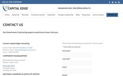 Screenshot of Contact Page capitaledgeconsulting.com - Contact Capital Edge Consulting Today! - captured Oct. 6, 2019