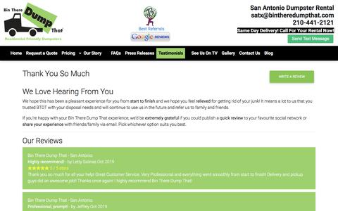 Screenshot of Testimonials Page satxdumpsterrental.com - Bin There Dump That - San Antonio Dumpster, San Antonio Dumpster Rental, Dumpster Rental San Antonio - captured Jan. 27, 2020