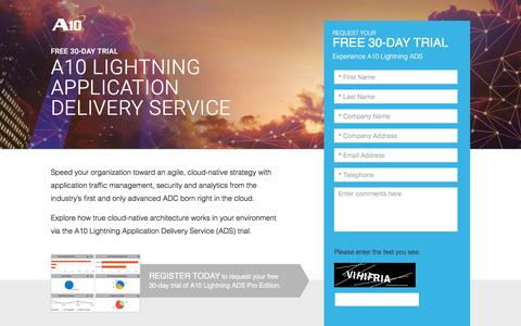 Screenshot of Trial Page a10networks.com - A10 Lightning Application Delivery Service Free Trial - captured Jan. 3, 2017