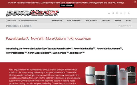 Screenshot of Products Page powerblanket.com - Best Commercial Heating and Cooling Solutions | Powerblanket - captured July 21, 2018