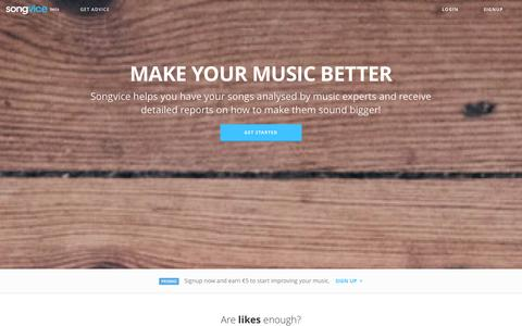 Screenshot of Home Page songvice.com - Songvice.com - Learn Music From Real Musicians - captured Oct. 9, 2014