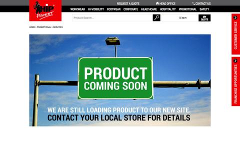 Screenshot of Services Page hippocketworkwear.com.au - Services - Promotional - captured Oct. 2, 2014