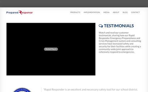Screenshot of Testimonials Page preparedresponse.com - Customer Testimonials - Prepared Response - captured July 4, 2016