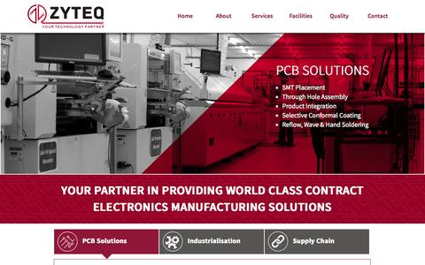 Screenshot of Home Page zyteq.co.za - ZYTEQ Technologies - Contract Electronics Manufacturing Solutions - Cape Town, South Africa - captured Oct. 6, 2014