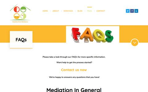 Screenshot of FAQ Page familiesfirstmediation.com - FAQs – Families First Mediation - captured Aug. 12, 2018