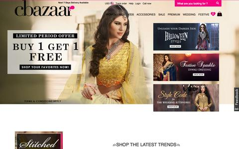 Screenshot of Home Page cbazaar.com - Buy Indian Dresses Online| Indian Saris,Salwar Kameez,Lehenga,Kurti,Sherwani Online at Cbazaar.com - captured Oct. 15, 2015
