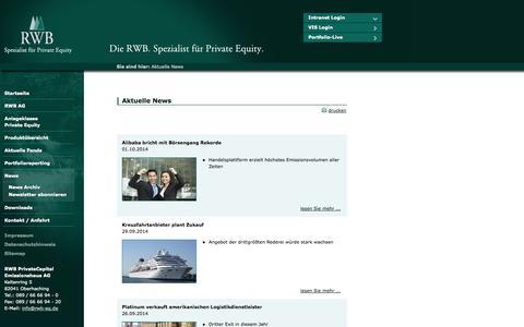 Screenshot of Press Page rwb-ag.de - RWB AG - Aktuelle News - captured Oct. 6, 2014