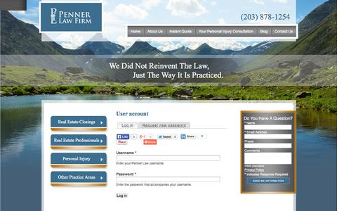 Screenshot of Login Page pennerlawfirm.com - User account | Penner Law - captured Oct. 2, 2014