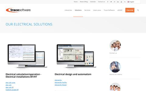 Screenshot of Products Page trace-software.com - Our design solutions for the industry | Trace Software Intl - captured Sept. 30, 2018